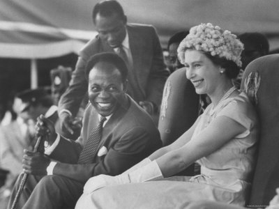 Dr Kwame NKrumah and Queen Elizabeth II. Ghana independence