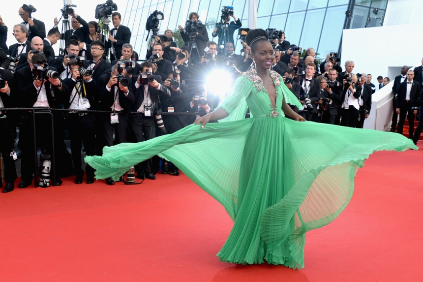 Lupita #grasshoppergreen Gucci dress