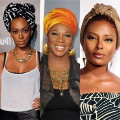 Solange headwrap, with India Arie and Eva from America's nect top model