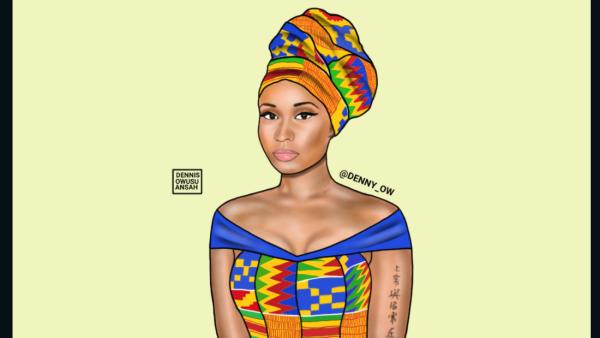 Nicki Minaj, Pink Friday, African print, kente cloth