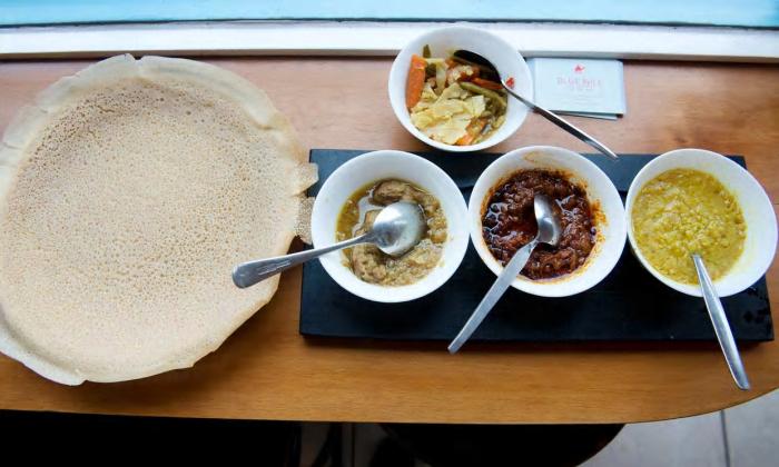 vegan food, injera flatbread
