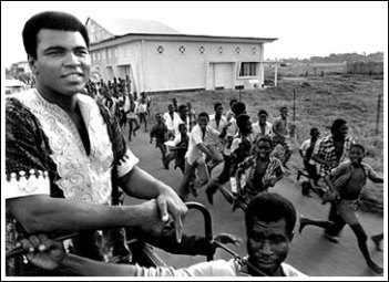 Muhammad Ali before the fight The Rumble In The Jungle, Zaire, 1B&W