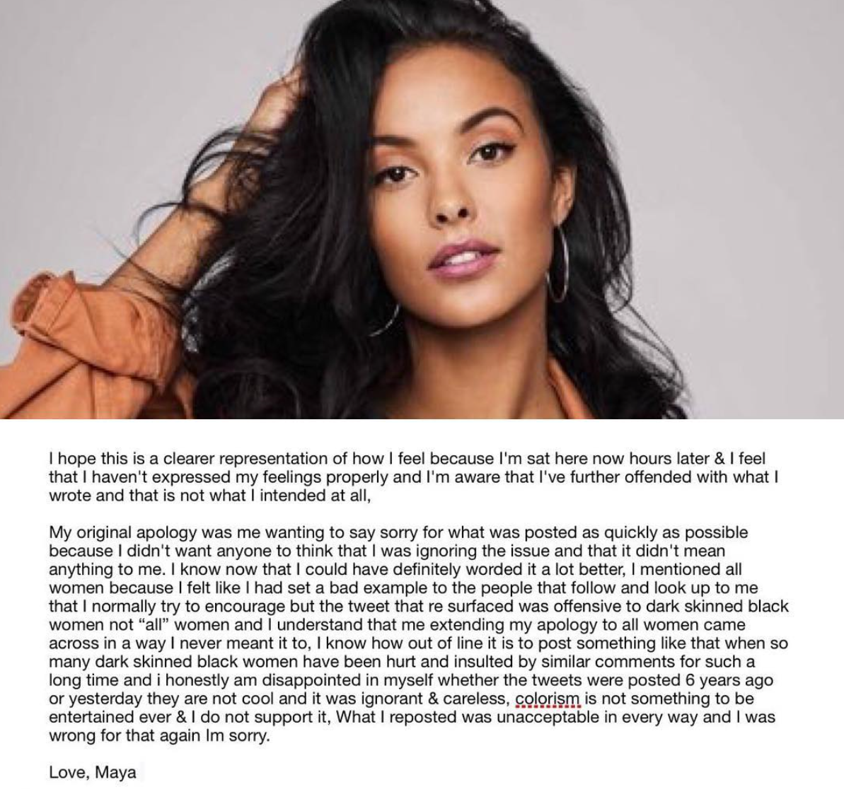 maya jama apology