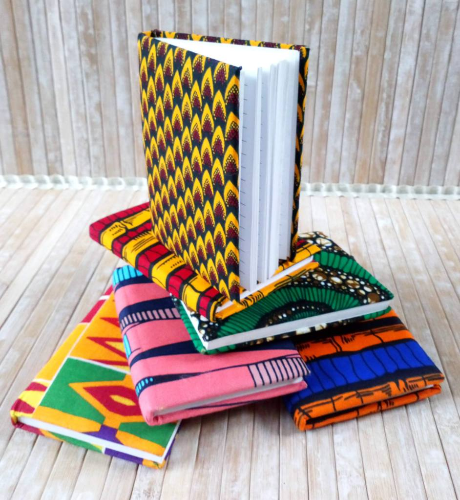 African print notebooks for Mother's day gifts. African print fabric